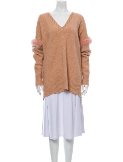 Sally LaPointe Cashmere V-Neck Sweater Pink