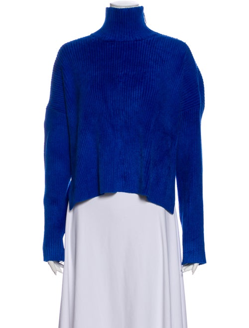 Sally LaPointe Mock Neck Sweater Blue