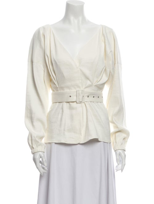 Sally LaPointe Linen V-Neck Blouse