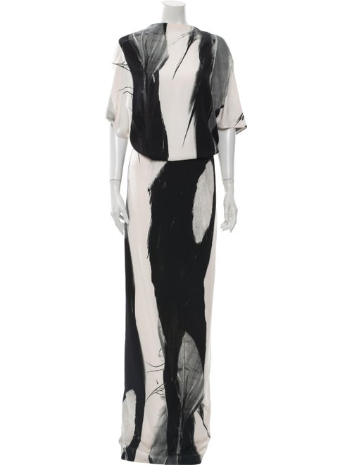 Sally LaPointe Colorblock Pattern Long Dress Black