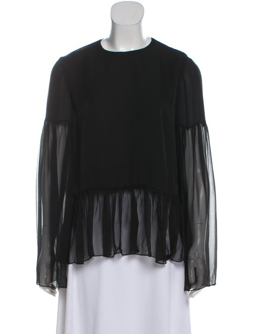Sally LaPointe Long Sleeve Silk Top Black