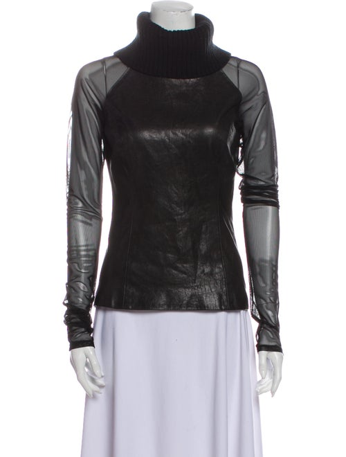 Sally LaPointe Leather Turtleneck Sweatshirt Black