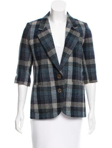 Smythe Plaid Wool Blazer None