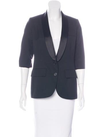 Smythe Silk-Trimmed Wool Blazer None
