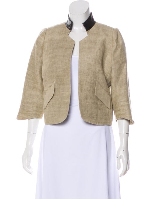 Smythe Leather-Trimmed Linen Jacket Beige