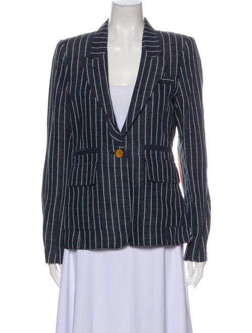 Smythe Linen Striped Blazer Blue
