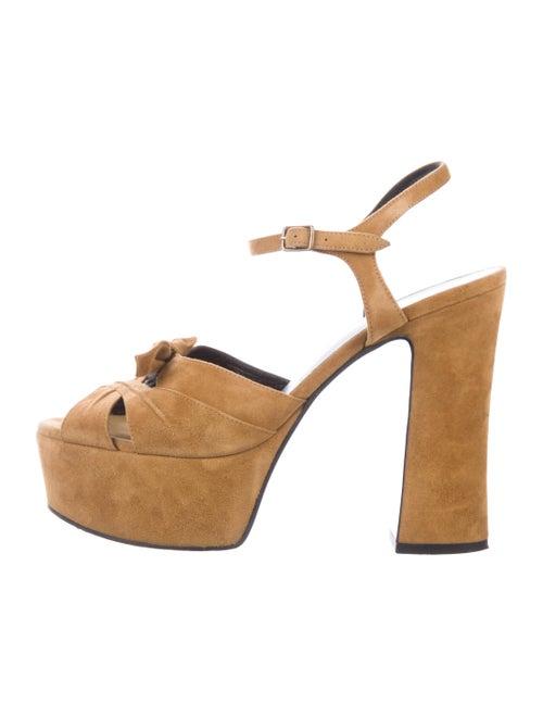 Saint Laurent Candy Suede Platform Sandals Yellow