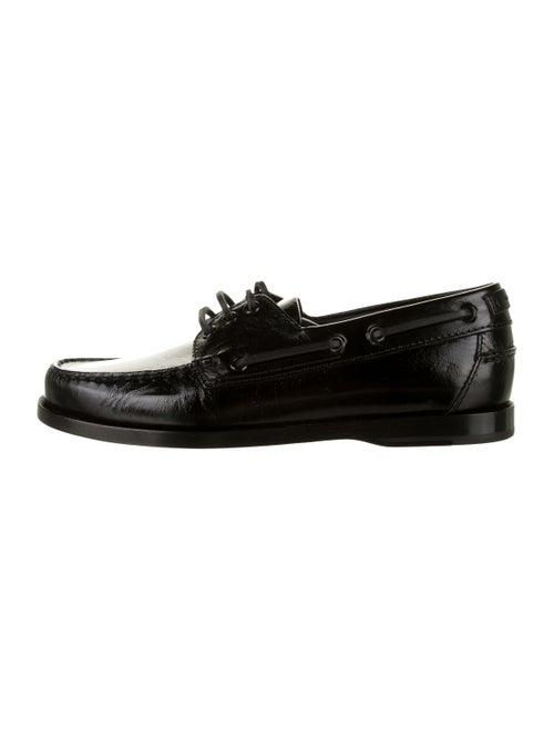 Saint Laurent Leather Boat Shoes Black