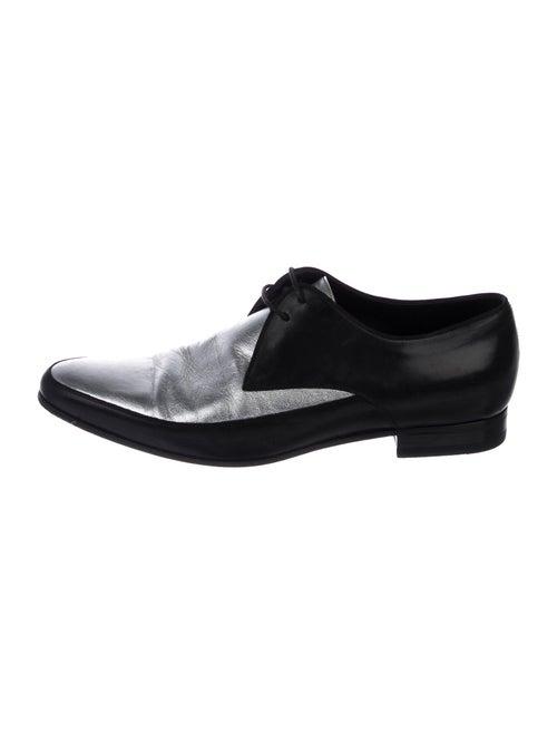Saint Laurent Metallic Leather Derby Shoes silver