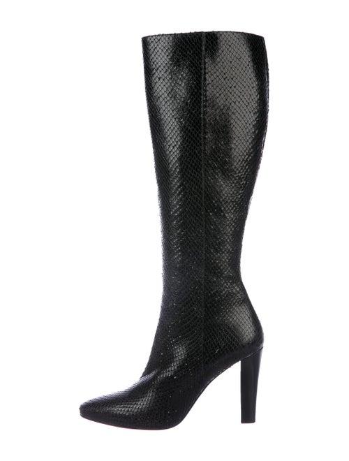 Saint Laurent Snakeskin Boots Black