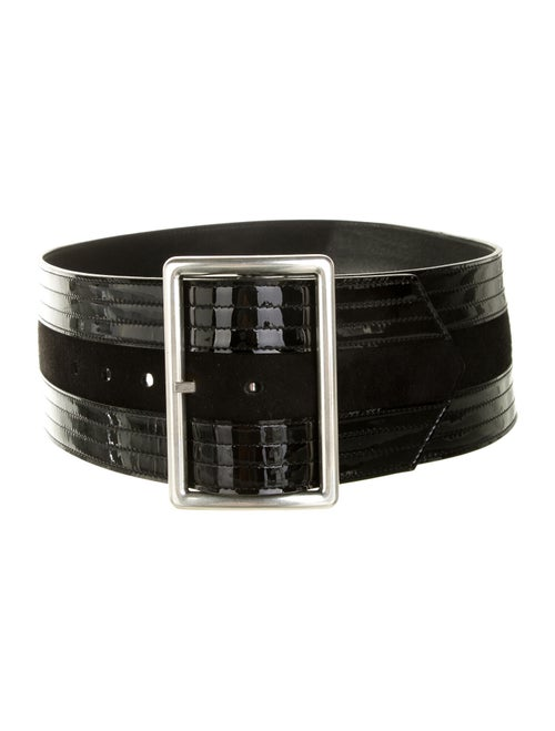 Saint Laurent Patent Leather Waist Belt Black