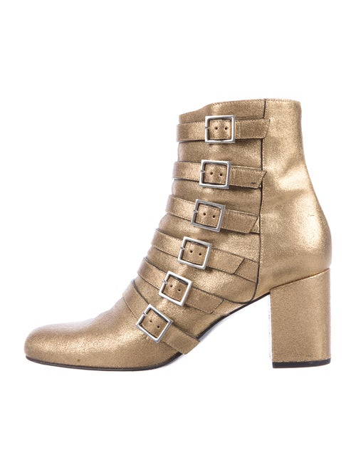 Saint Laurent Leather Boots Gold