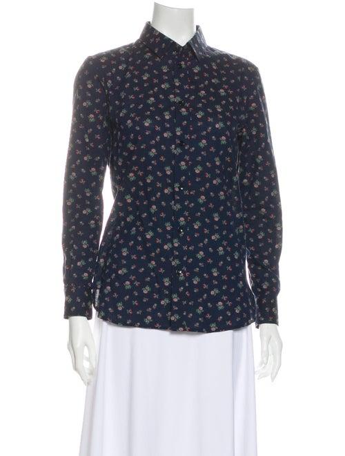 Saint Laurent 2014 Floral Print Button-Up Top Blue