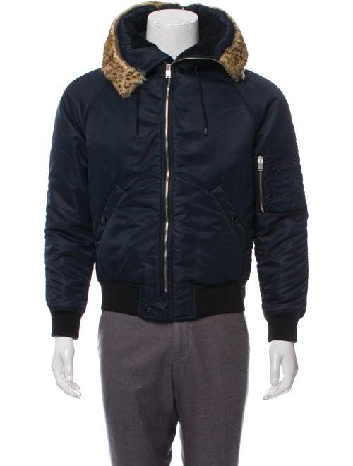 Saint Laurent Fur-Trimmed Hooded Jacket navy