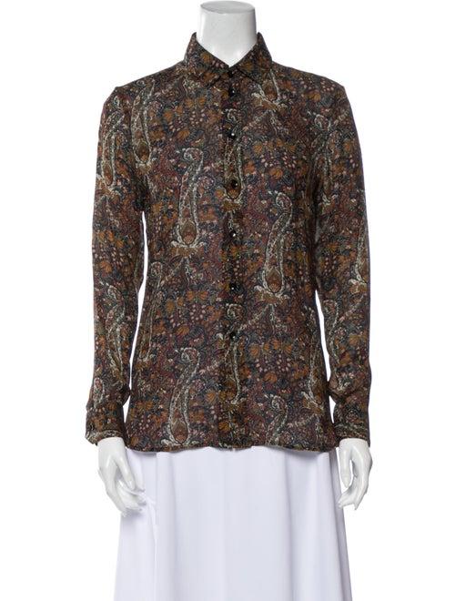 Saint Laurent Floral Print Long Sleeve Button-Up T