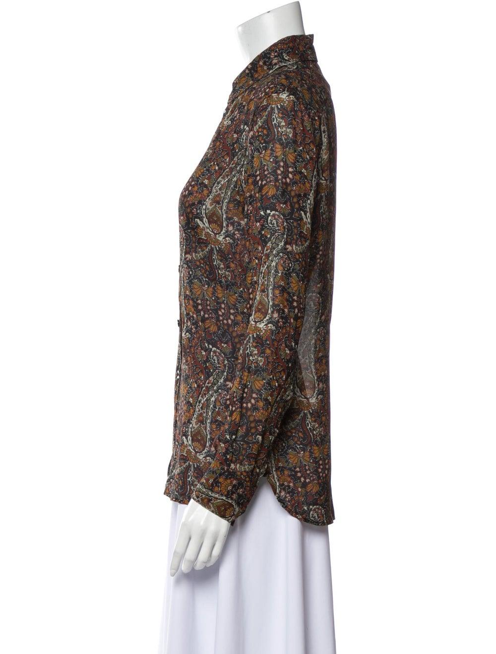 Saint Laurent Floral Print Long Sleeve Button-Up … - image 2