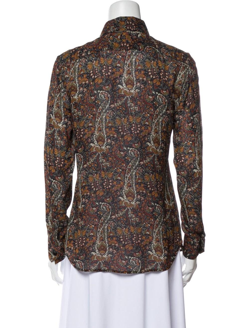 Saint Laurent Floral Print Long Sleeve Button-Up … - image 3