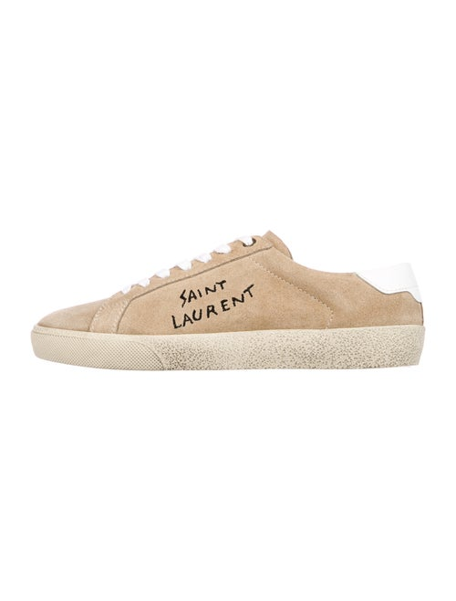 Saint Laurent Suede Graphic Print Sneakers