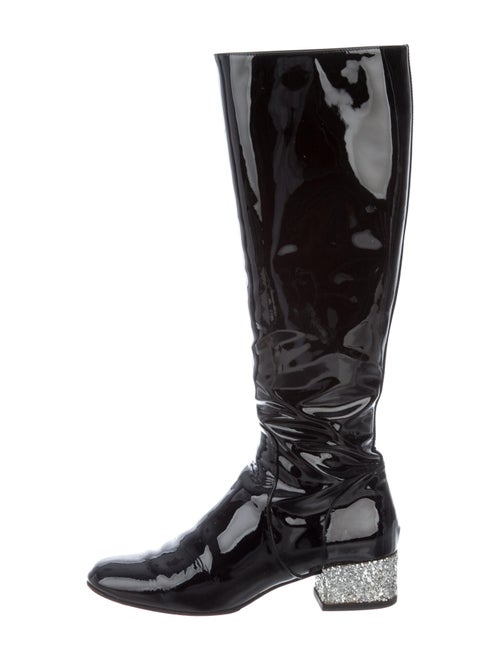 Saint Laurent Patent Leather Riding Boots Black