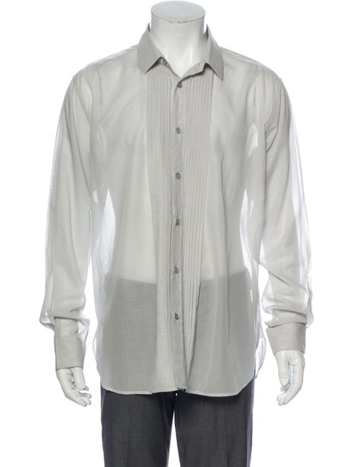 Saint Laurent Long Sleeve Dress Shirt Grey