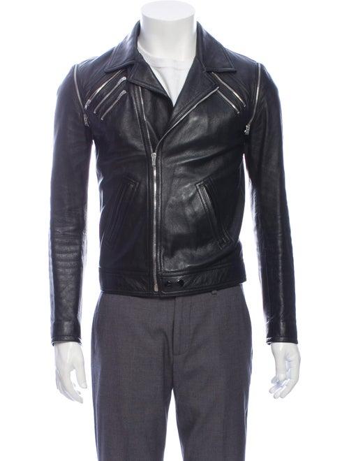 Saint Laurent Lamb Leather Moto Jacket Black