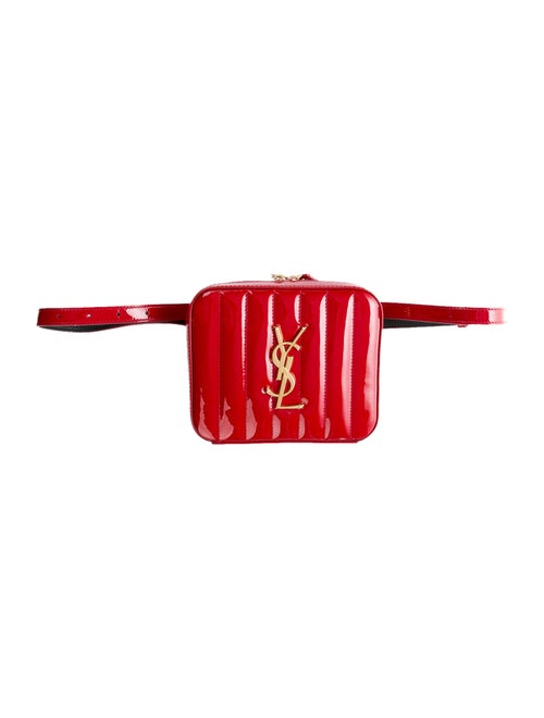 Saint Laurent Patent Leather Vicky Belt Bag Red