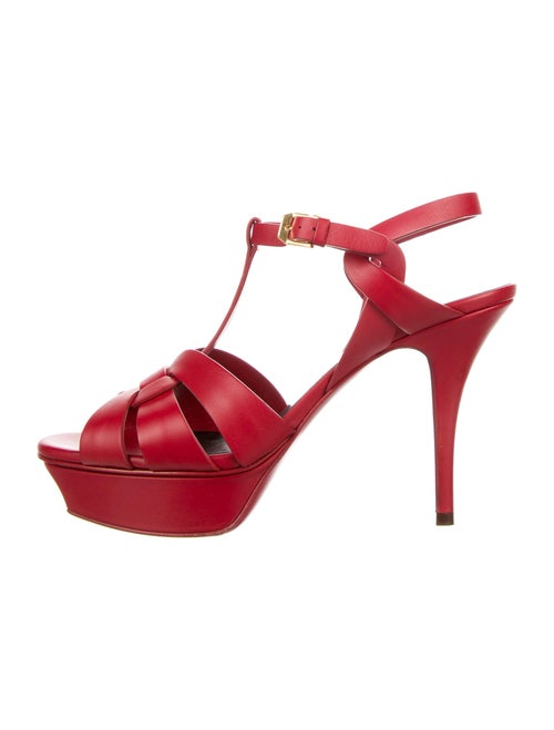 Saint Laurent Leather T-Strap Sandals Red