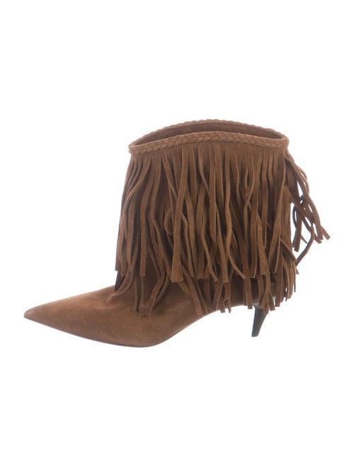 Saint Laurent Charlotte Suede Western Boots Brown