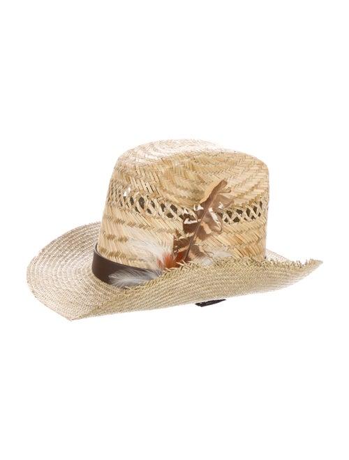 Saint Laurent Tan Straw Hat Tan