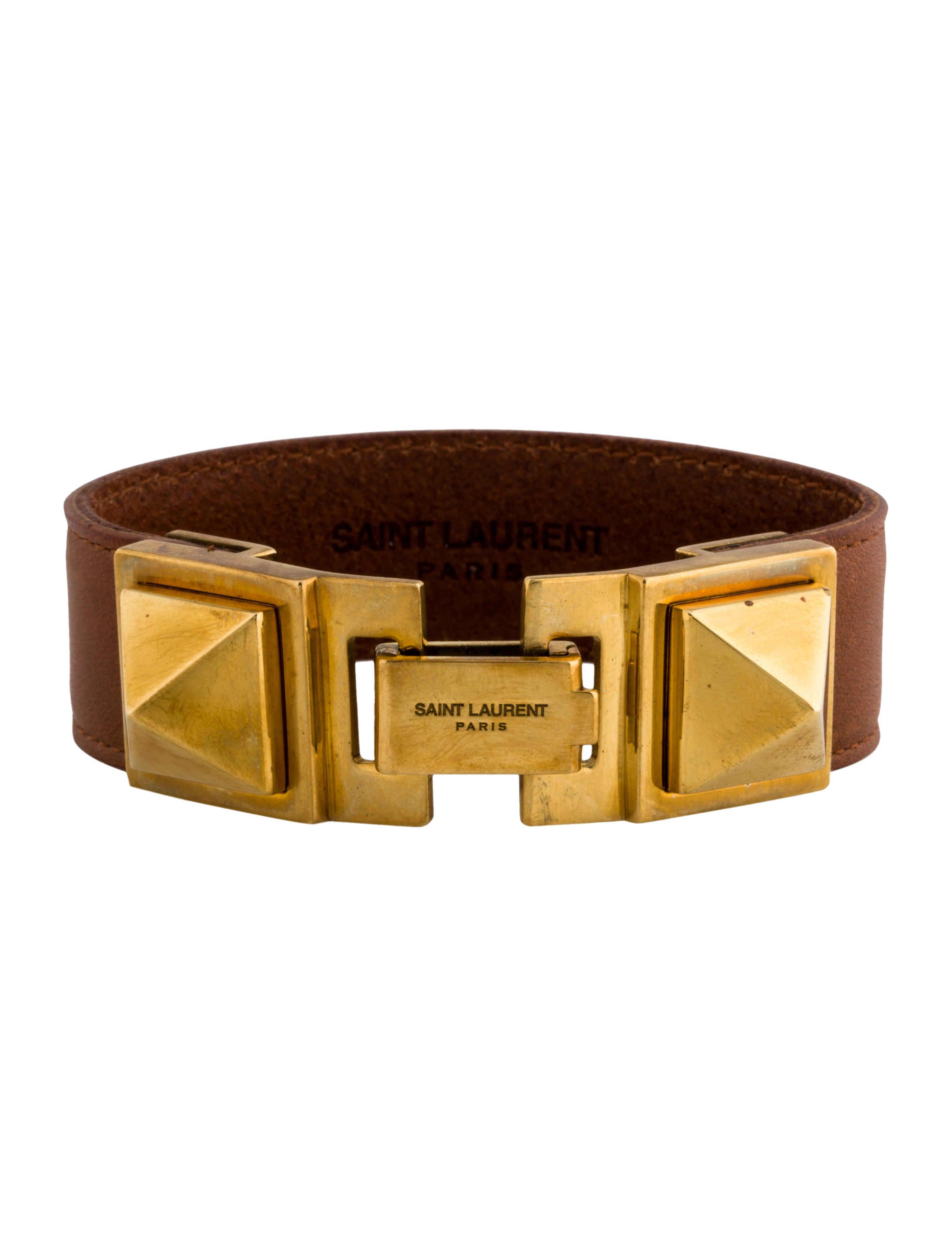 829f21093b0 Saint Laurent Clous Punk Carré Studded Leather Bracelet - Bracelets ...