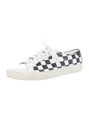 Checkered Leather Sneakers