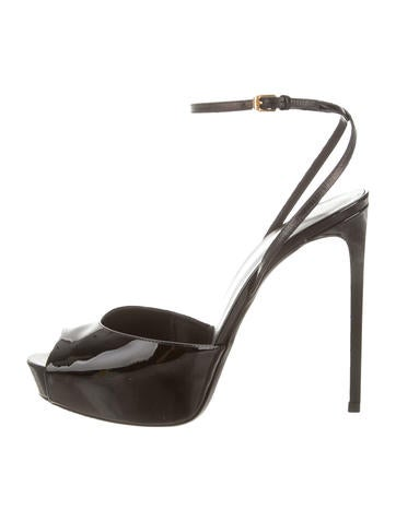 Saint Laurent Peep-Toe Platform Sandals