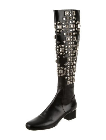 laurent studded knee high boots shoes snt27317