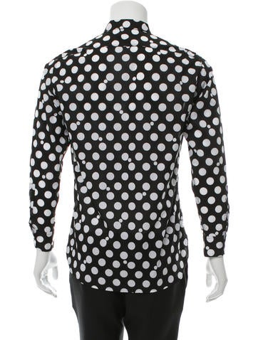 Polka Dot Print Button-Up Shirt