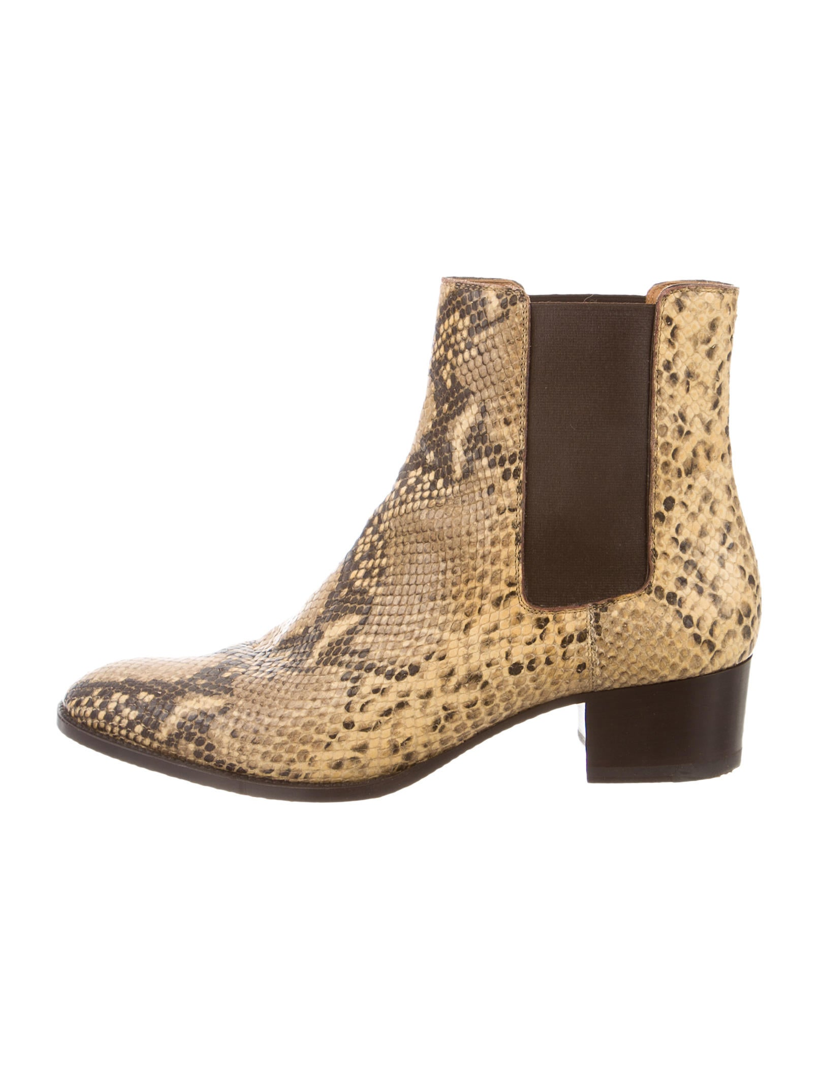 Contemporary Flatware Saint Laurent Snakeskin Round Toe Booties Shoes
