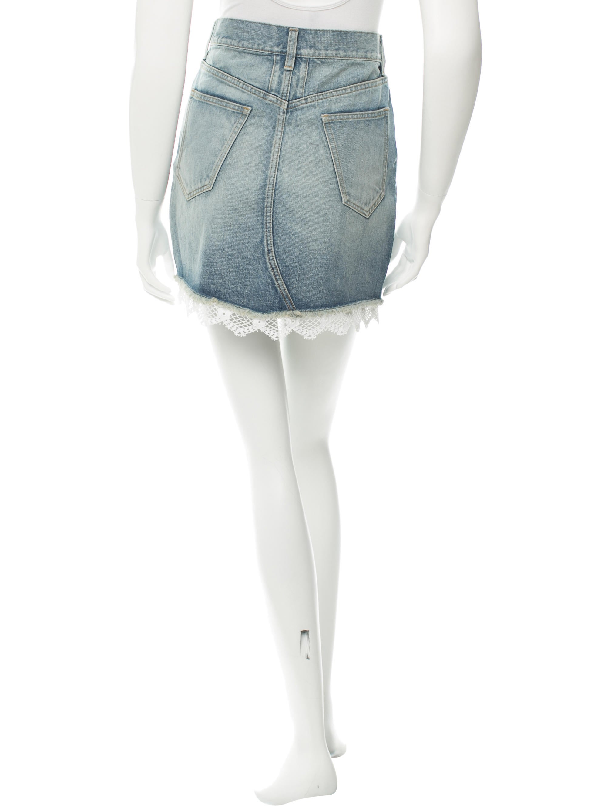 laurent lace trimmed denim skirt clothing