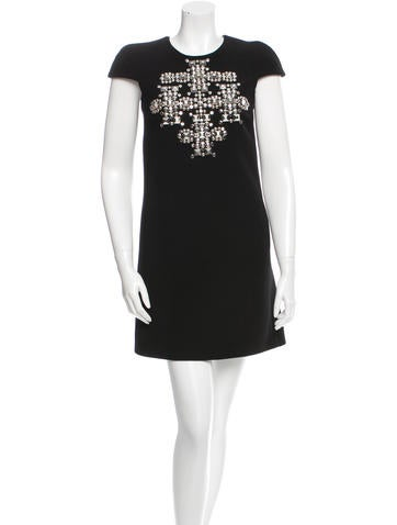 Saint Laurent Stud-Embellished Virgin Wool Dress w/ Tags None