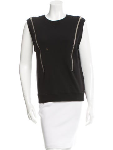 Saint Laurent Sleeveless Crew Neck Top None