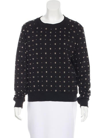 Saint Laurent Studded Crew Neck Sweatshirt None