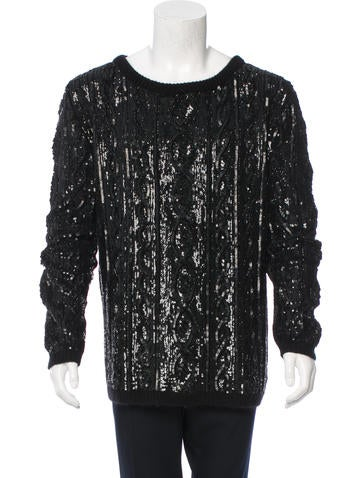 Saint Laurent Wool Sequin-Embellished Sweater None