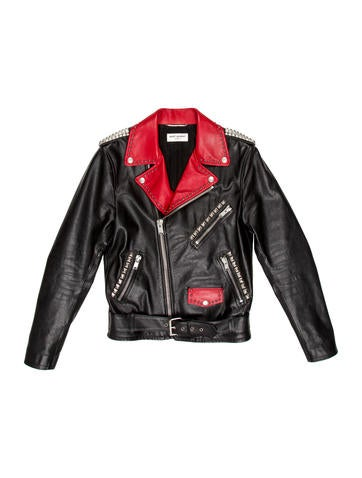 Saint Laurent Studded Leather Biker Jacket None