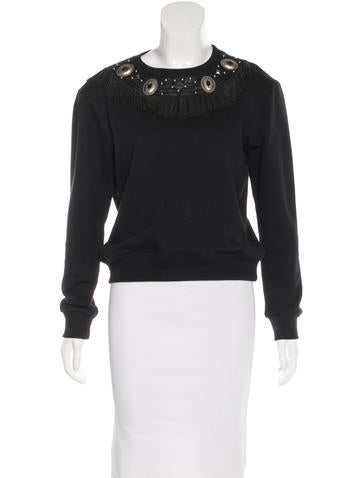 Saint Laurent Leather-Trimmed Embellished Sweater None