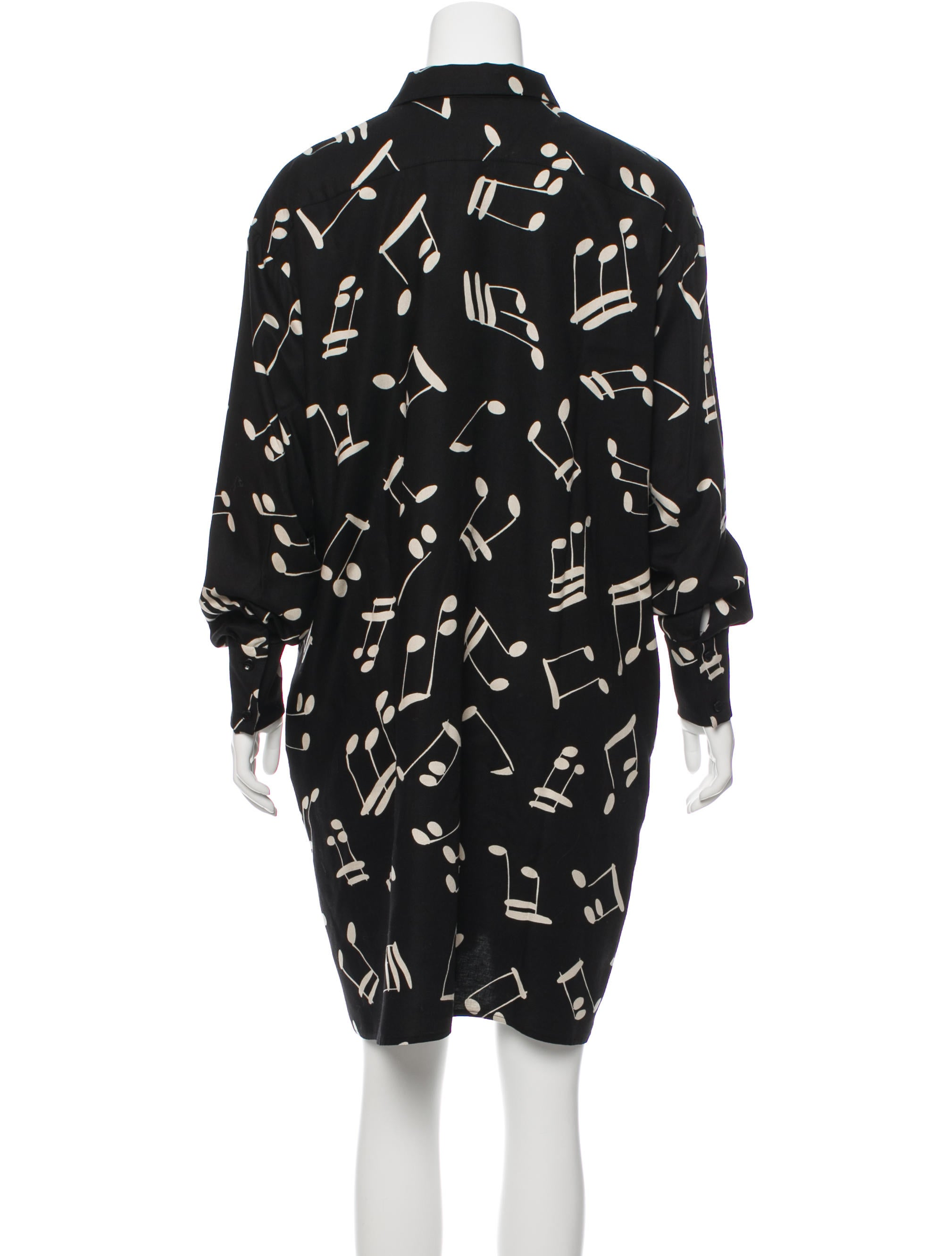 Saint laurent music note print shirt dress clothing for Saint laurent shirt womens