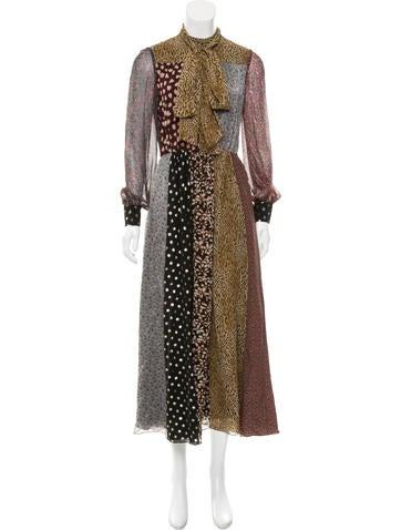 Saint Laurent Abstract Print Silk Dress