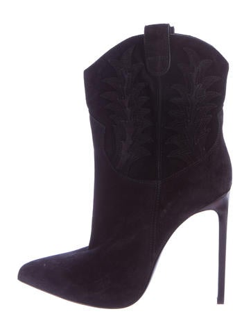 Cowboy Suede Pointed-Toe Boots w/ Tags
