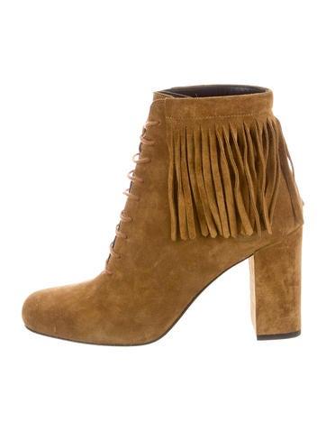 Saint Laurent Suede Fringe Ankle Boots