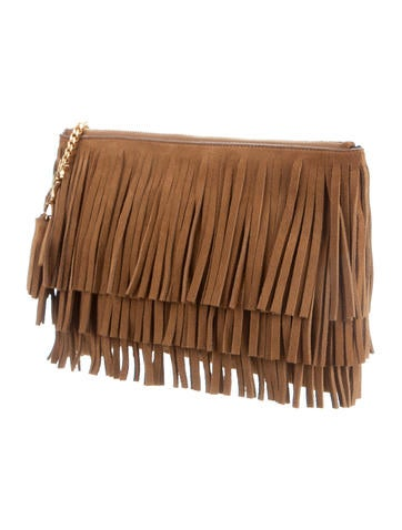 Monogram Medium Suede Fringe Clutch