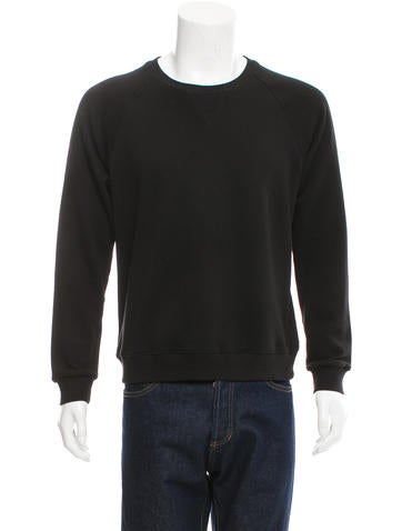 Saint Laurent Pullover Leather-Trimmed Sweatshirt None