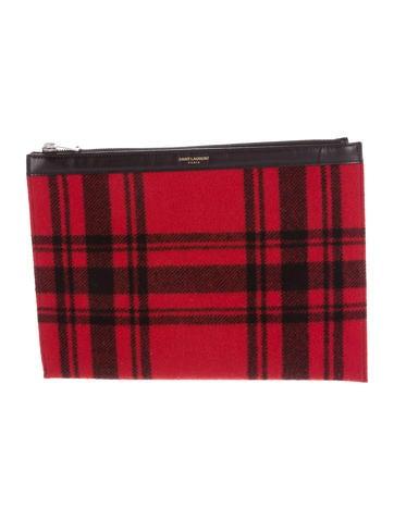 Saint Laurent Plaid Wool Zip Pouch