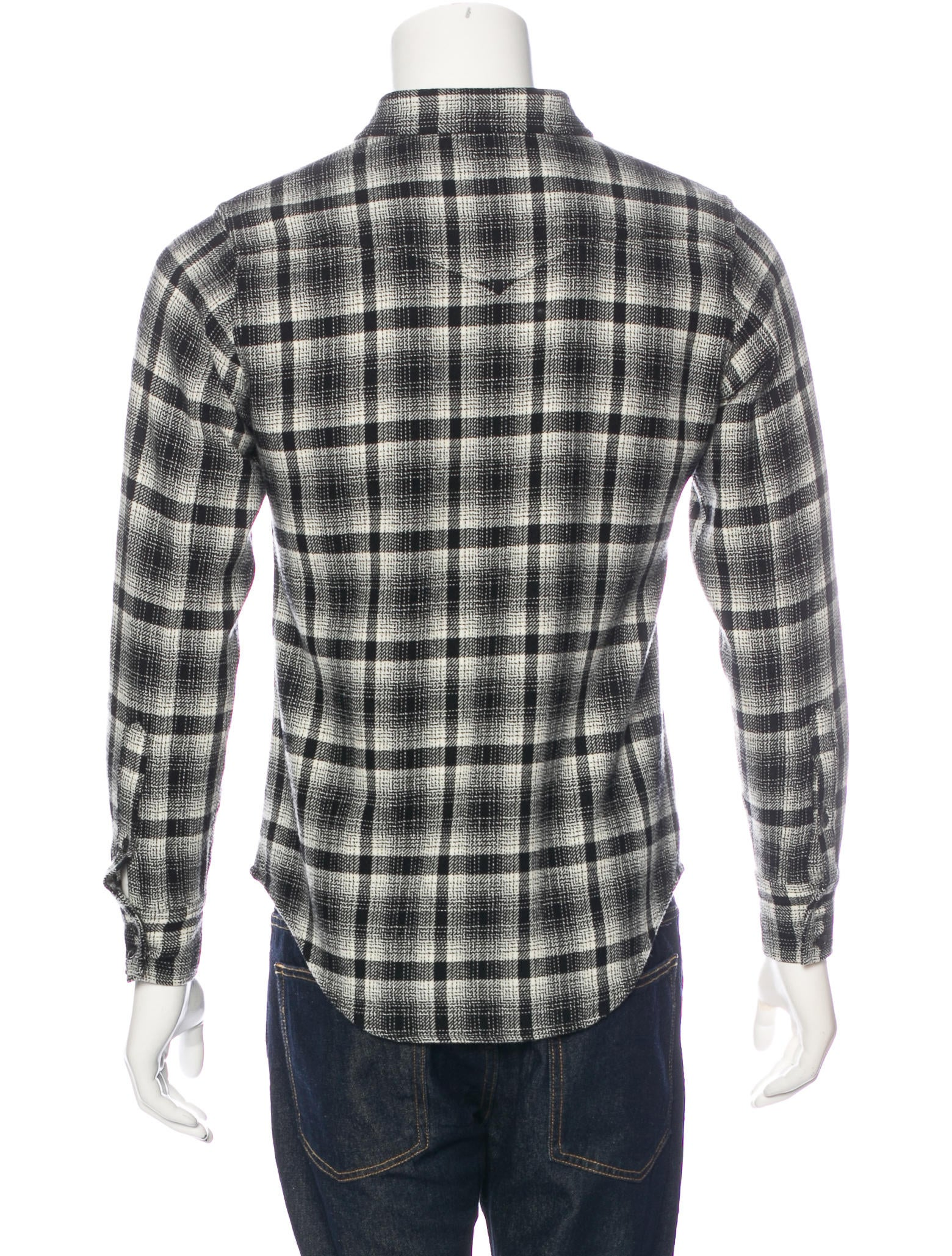 Saint Laurent 2016 Wool Plaid Flannel Shirt Clothing